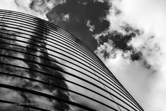. (jepag0) Tags: sky blackandwhite glass wall architecture modern clouds moderne ciel nuages reflets clermont verre reflects noirblanc clermontferrand wallwednesday