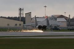 USAF F-15c Emergency Landing RAF Lakenheath (Kurt Fairhurst Photography 2016) Tags: england plane suffolk crash fireengine safe emergency sparks usaf runway raf f15 lakenheath fighterjet strikeeagle