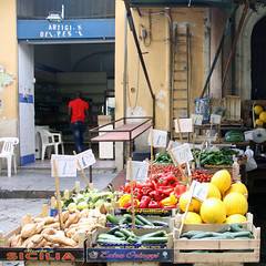 Saturday market (m-blacks) Tags: street door people italy food vegetables stand stair market streetphotography sicily melons palermo mercato sicilia prices streetmarket marketstall fruitboxes ballar