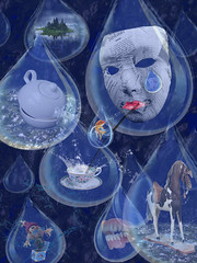 Tea, Tears, and Raindrops (jopperbok) Tags: blue trees horse fish cup water rain collage photomanipulation photoshop island droplets tears mask tea drink surrealism teeth straw surreal manipulation drop lips drinks jackinthebox raindrops droplet teapot splash tear teacup rockinghorse raindrop surrealisme jopperbok