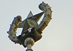 Soviet star atop Stalinist building in central Tallinn, Estonia. 30 October 2015 (Vadiroma) Tags: city building architecture star europe tallinn capital decoration baltic eesti stalinist 2015