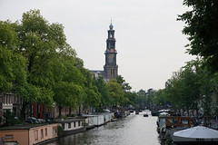 2014-07-27_20-00-36 (Colonel Matrix) Tags: church netherlands amsterdam boat canal prinsengracht westerkerk