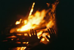 Hands in the Fire (Rachael.Robinson) Tags: winter light canada color film 35mm island fire hands flames bonfire fujifilm sparks heating campobello