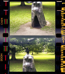 Lynn Chadwick - Cloaked Figure IX (Dell's Pics) Tags: park sculpture green film grass pen open air yorkshire olympus lynn 200 figure vista agfa ix chadwick cloaked poundland ee2