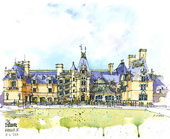 The Biltmore ((dgdraws) Instagram @dongore50) Tags: watercolor sketch drawing northcarolina sketchbook biltmore urbansketchers dongore