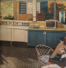 Type, Watch TV and Talk on the Phone while Doing Your Laundry (saltycotton) Tags: television typewriter vintage magazine phone telephone ad advertisement laundry 1950s washingmachine dryer washer 1959 frigidaire clipboard mccalls swaglamp portabletv