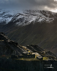 Caban Hut (Greg Whitton Photography) Tags: winter light cloud sunlight mountain snow mountains industry rock landscape sony ruin hut snowdon snowdonia quarry caban dinorwic a7rii