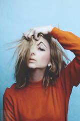 (Courtney Emery) Tags: blue portrait orange selfportrait blonde femalemodel conceptual headroom