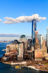 One World Trade Center and Battery Park (WhitcombeRD) Tags: world new york city nyc usa ny newyork skyline america one manhattan centre flight center aerial helicopter wtc trade onewtc