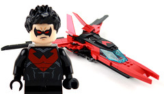 Custom Lego Nightwing Fighter Jet (OneBadawan) Tags: red brown jason robin dawn tim justice dc fighter lego dick bruce wayne jet superman grayson batman stephanie hood alfred vs todd drake custom gotham marvel league damian nightwing moc bvs arkham pennyworth