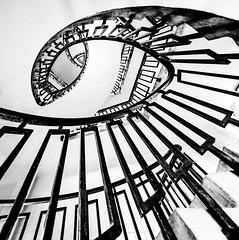 Asymmetrical Spiral (Sean Batten) Tags: city urban blackandwhite bw architecture stairs spiral nikon steps flats bethnalgreen d800 1424 georgelovelesshouse