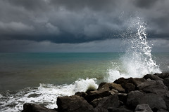 Mare Adriatico (Bernd Thaller) Tags: italien blue sea italy white green clouds cloudy outdoor gray wave stormy it desaturation splash breakwater caorle venetien