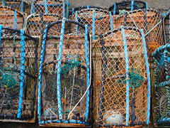 Creels (divnic) Tags: county uk sea water coast fishing harbour northernireland ni lobsterpots northchannel antrim northcoast lobstertrap irishsea portballintrae fishingequipment creelpots