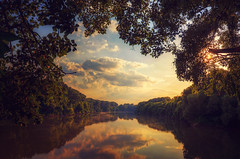 Tisza river (Pásztor András) Tags: blue trees light sunset red sun sunlight reflection green nature water yellow clouds forest river landscape photography nikon colorful hungary mood calm dslr leafs tones hdr andras tisza pasztor d5100