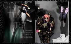 Contents . (Venus Germanotta) Tags: fashion photoshop pose magazine typography spread graphicdesign model crystal fierce vogue secondlife heels couture edit avantgarde highfashion alexandermcqueen contentspage
