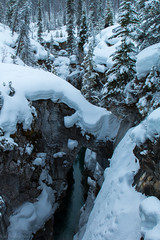 Marble Canyon under Snow. (Patstirling) Tags: park bridge trees sky outcrop cloud mountain snow canada mountains reflection ice rock clouds river landscape waterfall stream outdoor britishcolumbia smooth atmosphere canyon hike trail valley limestone banff gorge marble iceclimbing kootenay windermere conifers vermilion snowbank avalanche icefall hwy93