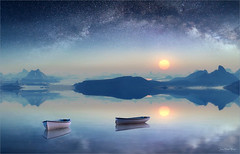 Blue Dream (Jean-Michel Priaux) Tags: blue sunset sky sun art fairytale photoshop painting stars landscape see boat paint dream surreal reflect fantasy unreal paysage sureal reflexion milkyway mattepainting littleboat heroicfantasy paintingmatte paintmapping