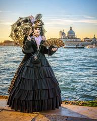 Lady in Black Lace (Kayla Stevenson) Tags: venice costume model piazza sangiorgiomaggiore