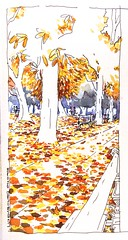 L'automne dernier_Jardin du Luxembourg. Last fall (velt.mathieu) Tags: paris fall garden sketch croquis