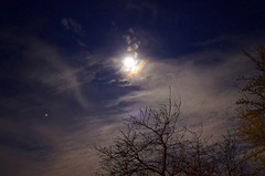 Jupiter and moon before the bad weather (Denis Vandewalle) Tags: blue sky moon nature night clouds lune stars pentax astro nightsky nightscene toiles plante