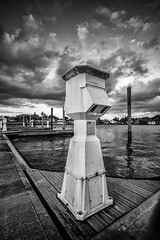 (petojustin) Tags: ocean blackandwhite bw seascape water monochrome clouds blackwhite dock downtown waterfront outdoor grain shoreline stuart marian intercoastal sonnarte1824 sel1018 sonya6000
