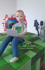 Minecraft Terraria closeup (Cake Diane Custom Cake Studio (eyedewcakes)) Tags: birthday boy game grass cake computer modeling squares laptop tiles cube fondant gumpaste terraria minecraft