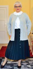 Ingrid021632 (ibach411) Tags: skirt blouse mature button cardigan pleated strickjacke ruffled faltenrock rschenbluse durchgeknpft