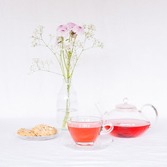 National Tea Day (SueBarni) Tags: flowers cup tea teapot biscuits saucer milkbottle nationalteaday