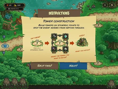 Kingdom Rush Origins Tutorial: screenshots, UI