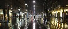 Bahnhofstrasse (maekke) Tags: light urban snow man color reflection rain night umbrella lights switzerland availablelight streetphotography bahnhof sbb hauptbahnhof rails fujifilm zrich railways ch bahnhofstrasse zvv 2016 x100t