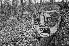 Lets Face It (CJ Schmit) Tags: trees blackandwhite bw nature monochrome face leaves wisconsin canon graffiti spring log paint dof branches milwaukee spraypaint shallowdepthoffield mke gordonpark canonef1740mmf40lusm milwaukeecountyparks canon5dmarkiii cjschmit 5dmarkiii wwwcjschmitcom niksilverefex2 cjschmitphotography