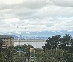 Airplane Over San Francisco (sjrankin) Tags: sanfrancisco california northerncalifornia airplane airport zoom edited sanfranciscobay hdr sanfranciscoairport 11april2016