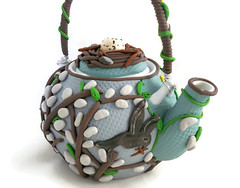 Springtime teapot (higirlsdesigns) Tags: pussy willow clay teapot springtime polymer pcagoe