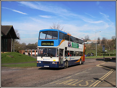 Unsociable 16698, Lodge Road (Jason 87030) Tags: camera canon volvo shot northamptonshire picture sunny busstop fave views april driver amateur bizarre northants stagecoach d2 doubledecker olympian 2016 daventry lodgeroad