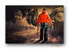 L'alpiniste. (Lionel Quaglia) Tags: winter sunset mountain snow man france alps montagne alpes landscape model altitude glacier creation neige nuages paysage chamonix homme coucherdesoleil garon chaine alpinisme compositing massif aiguilles sauvage hautesavoie hivers photographies rhnealpes quaglia aiguillesdechamonix aiguillesrouges alpiniste lionelquaglia