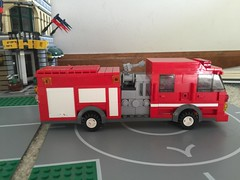 Engine 4: officer's side (Castle Beach FD) Tags: fire lego engine spartan gladiator pumper triplecombination