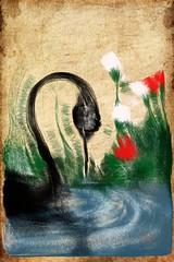 Black Swan fingerpaint (sorpresina) Tags: paint finger fingerpaint