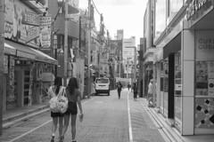 fashionably early (edwardpalmquist) Tags: travel sky people blackandwhite woman building girl monochrome fashion japan architecture truck shopping tokyo shibuya harajuku takeshitastreet
