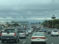 Traffic on the way to the Airport (sjrankin) Tags: sanfrancisco california cars northerncalifornia traffic zoom edited sanfranciscobayarea i80 sanfranciscoairport 11april2016