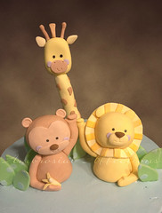 Baby Shower Jungle Cake (Cakes by Ambrosial Affections) Tags: animals monkey handmade lion jungle giraffe gumpaste