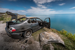 Not so beautiful now... (Rep001) Tags: uk cliff out portland fire burnt edge dorset bmw 328i