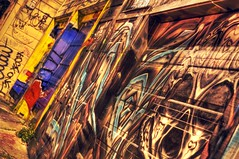 San Fricasso in the back alley (PeterThoeny) Tags: sanfrancisco california color art colors night wow graffiti alley mural colorful raw outdoor picasso mission missiondistrict hdr garagedoor 2xp photomatix nex6 sel50f18