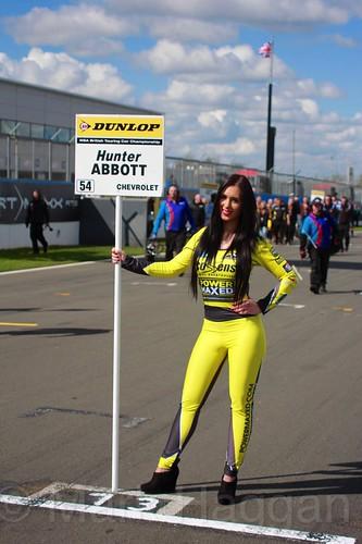 Hunter Abbott's grid board during the BTCC Weekend at Donington Park, April 2016