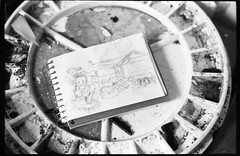 Still life with sketchbook and paint palette (Richard Wintle) Tags: blackandwhite bw stilllife film monochrome 35mm painting sketch paint asahi pentax takumar sketchbook 55mm 200 spotmatic 135 f18 smc palette foma fomapan spotmaticf adox adonal film:iso=200 fomafomapan200 film:brand=foma film:name=fomafomapan200 developer:brand=adox adoxadonal developer:name=adoxadonal filmdev:recipe=10692