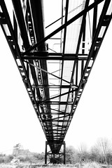 (simonholmes1982) Tags: uk bridge bw blackwhite riverside yorkshire leeds bridges riveraire pipebridge