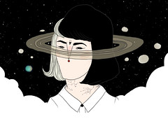 cada pessoa um mundo (ultraviolencefilter) Tags: girl illustration hair stars space colored saturn constellation