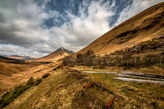 Glen Orchy (cheese and pickle) Tags: uk trees sky mountains tree nature beautiful landscape scotland leaf nikon track dof natural unitedkingdom britain hiking railway glen hills climbing valley mountainside scottishhighlands