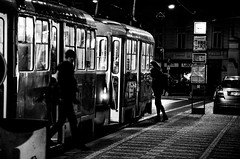 Get on and off (HiRoAki Saneyociy Lunar) Tags: city night europe czech prague pentax euro capital tram praha   2015 18135  easterneuro k5