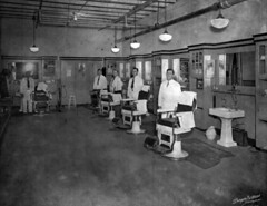 Barber shop at Florida State Hospital - Chattahoochee (State Library and Archives of Florida) Tags: chairs florida barber sinks employees barbershops chattahoochee floridastatehospital