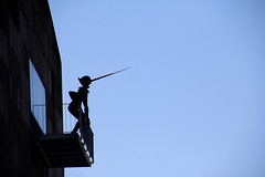It's A Lie ! (C_MC_FL) Tags: vienna wien blue sky art silhouette museum canon nose photography eos austria sterreich long fotografie balcony balkon kunst himmel mq lie installation blau tamron nase pinoccio museumsquartier mumok lange kontur 18270 lge 60d b008